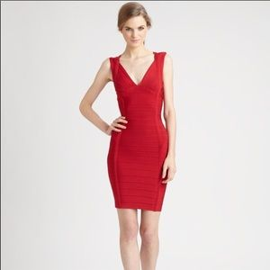 Herve Leger Darby Red V neck bodice dress small